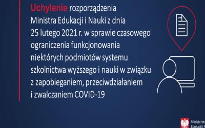 Uchylenie rozporządzenia Ministra Edukacji i Nauki z dnia 25 lutego 2021 r. w sprawie czasowego ograniczenia funkcjonowania niektórych podmiotów systemu szkolnictwa wyższego i nauki.